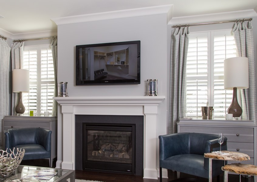 family room Destin faux wood shutters