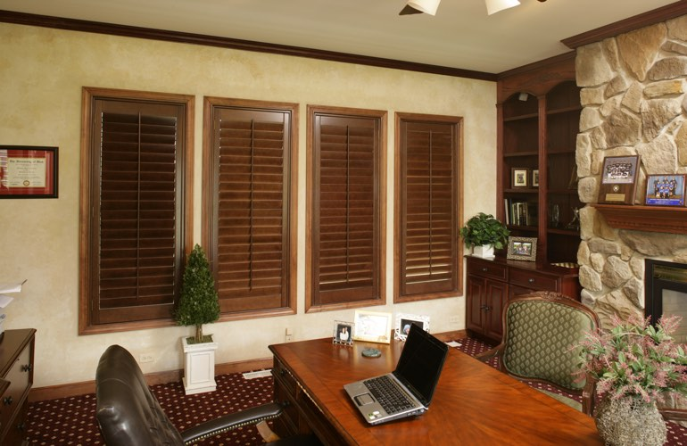 Hardwood plantation shutters in a Destin home office