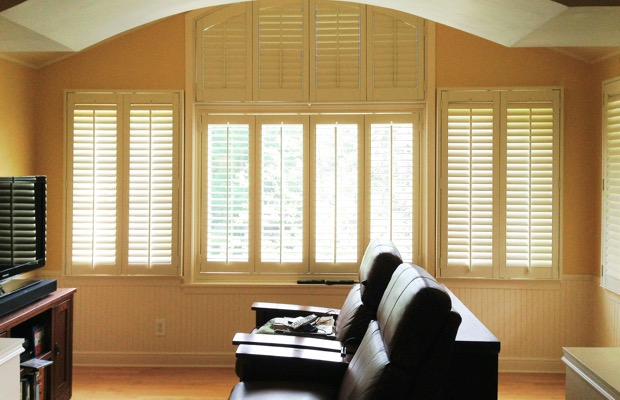 Destin plantation shutters in tv room