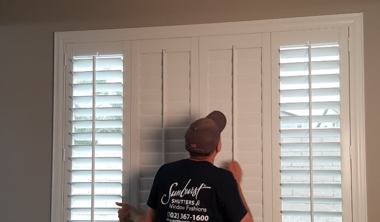 Installation of plantation shutters in Destin