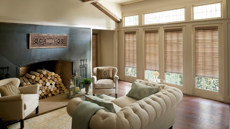 Destin fireplace with blinds