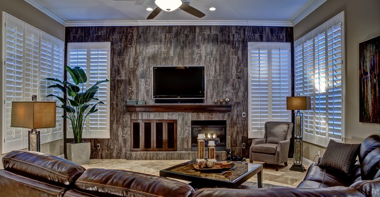 Destin living room with shutters