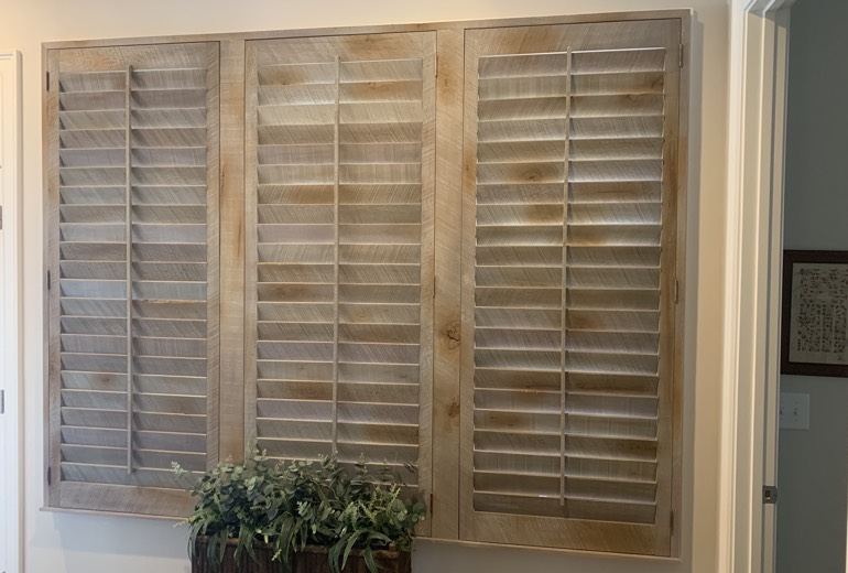 Closed reclaimed wood shutters in Destin