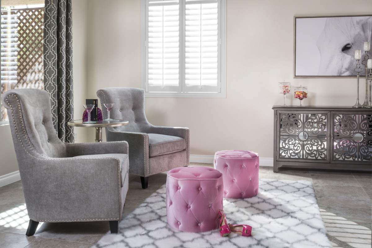 Destin pink living room with shutters
