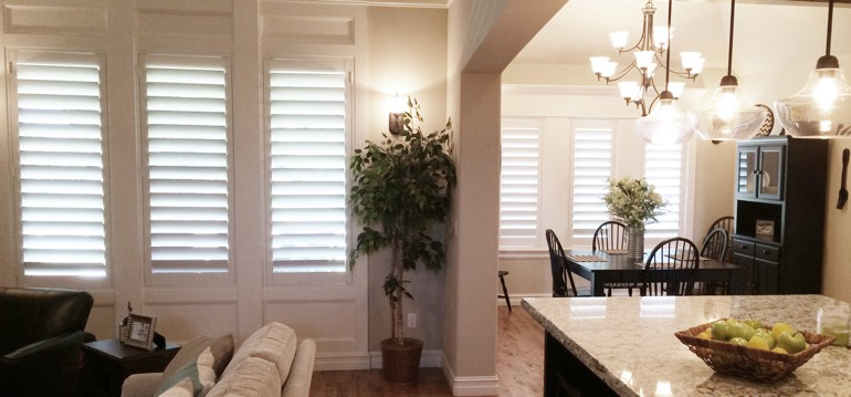 Destin shutters in kitchen and family room