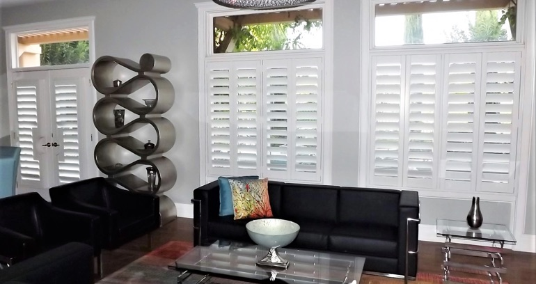 Destin DIY shutters in living room.