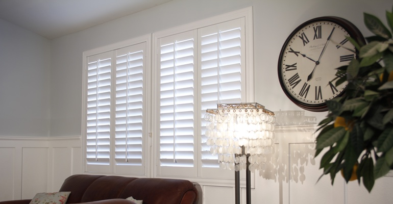 Destin living room plantation shutters