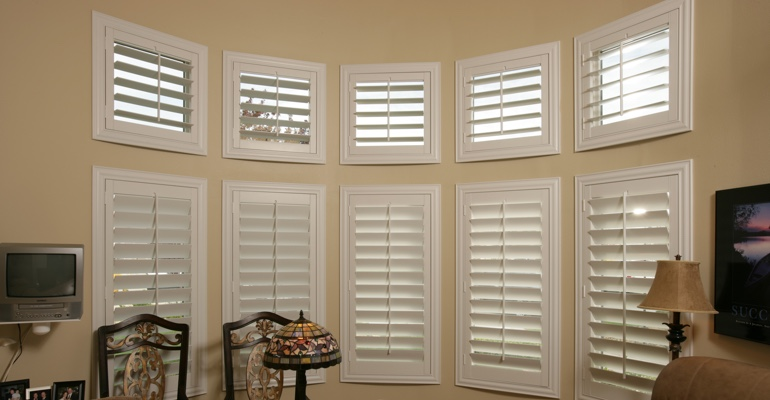 Bay window shutters Destin home office