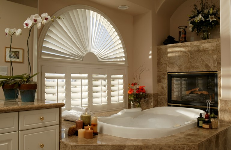 Our Professionals Installed Shutters On A Sunburst Arch Window In Destin, Florida