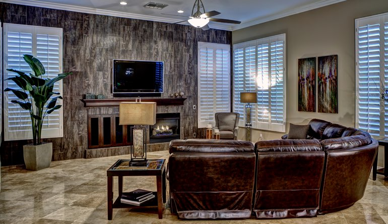 Plantation Shutters In A Destin Living Room.